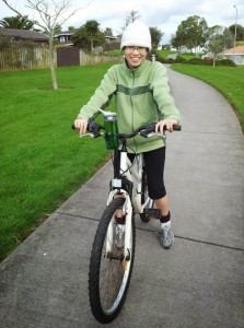 Cheryl on bike