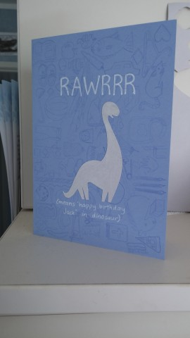 blue dinosaur birthday card rawrrr