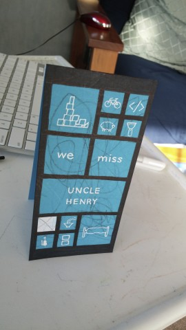 Windows Phone Metro themed greeting card with icons